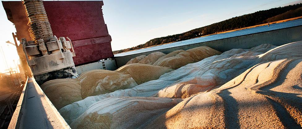 Loading of soybean meal on cargo vessel at Denofa in Fredrikstad, Norway