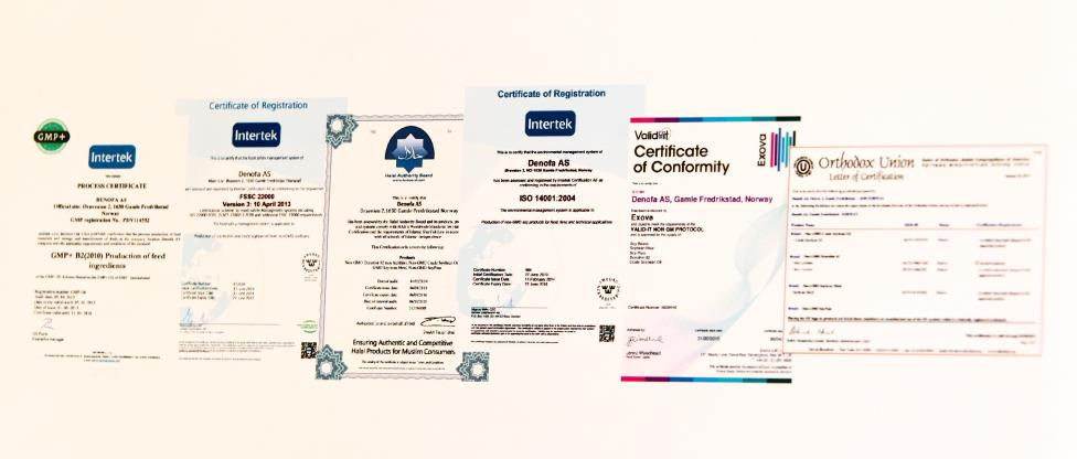 A sample of Denofa's certifications